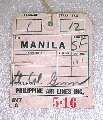 Pappy Gunn Philippine Air Lines Tag