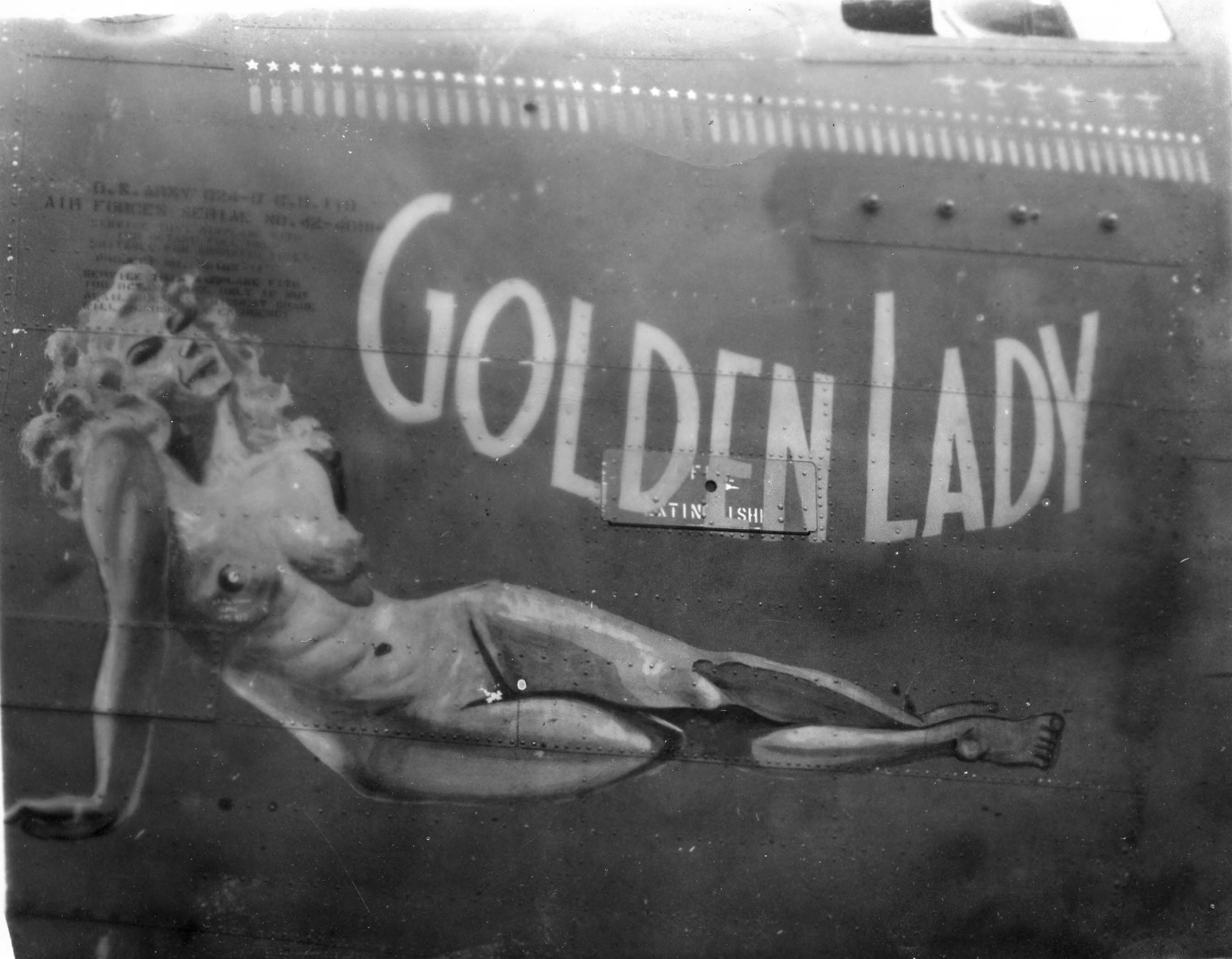 Golden Lady - B24D - 90th Bomb Group - 321st Squadron - Serial #42-40914 - Sharpe 17 (Thomas Sharpe Collection)
